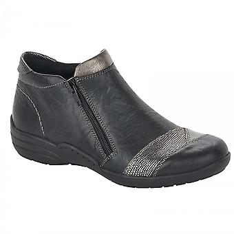 Remonte Black Double Zip Ankle Boot With Subtle Gold Mottle