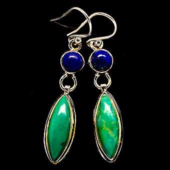 "Arizona Turquoise, Lapis Lazuli Earrings 1 3/4"" (925 Sterling Silver)  - Handmade Boho Vintage Jewelry EARR405843"