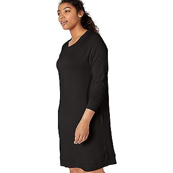 Marke - Tägliche Ritual Frauen's Supersoft Terry Long-Sleeve Raglan Sweatshirt Kleid, schwarz, X-Small