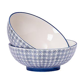 Nicola Spring 2 Piece Hand-Printed Fruit Bowl Set - Japanese Style Porcelain Pasta Salad Serving Bowls - Navy - 31.5cm