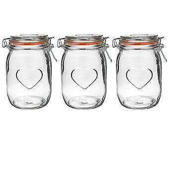 Nicola Frühling Herz Glas Aufbewahrung Gläser mit luftdichten Clip Deckel - 1 Liter Set - Orange Seal - Packung mit 3