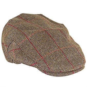 ZH097 (MIDOLIVE/REDCHK S 56cm ) Kinloch WP British Tweed Flat Cap