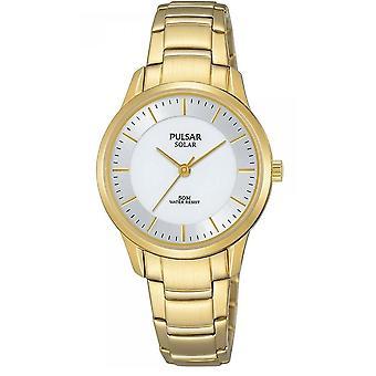 Pulsar Ladies Solar Gold Bransoletka Biała tarcza 50M Zegarek (Nr modelu PY5042X1)
