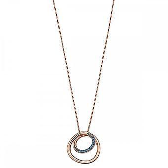 Fiorelli Silver Circle Spiral Design Montana Detail Rose Gold Pendant P4661L