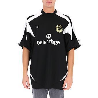 Balenciaga 641665tjv051070 Men'camiseta branca/preta de poliéster