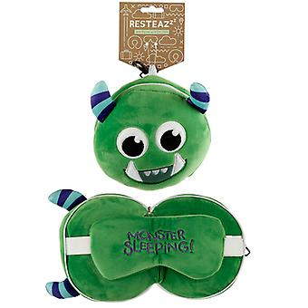 Monstarz Monster Green Relaxeazzz Plush Round Travel Pillow & Eye Mask Set
