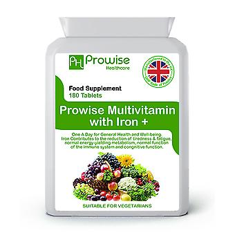 Multi Vitamins & Iron 180 Tablets (6 Months dose) | Suitable For Vegetarians | Made In UK