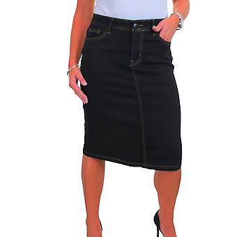 Frauen's Stretch Denim Jeans Bleistiftrock unter Knie Länge klassische bequeme Midi Glattwaschen schwarz 10-20