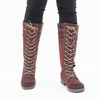 Rieker Z0442-36 Ladies Leather Tall Boots Red/multi