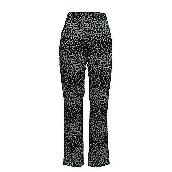 Mujeres con control mujeres's pantalones Leopard Flocked Slim Leg Gray A284100