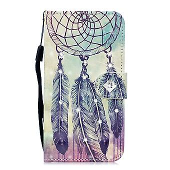 3D Diamond Encrusted Painting Pattern Coloured Drawing Horizontal Flip PU Leather Case with Holder & Card Slots & Wallet For Galaxy J6+ (2018)(Feather
