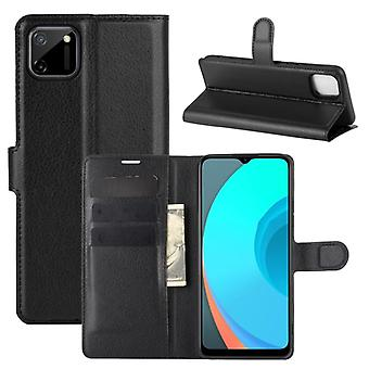 For OPPO Realme C11 Litchi Texture Horizontal Flip Protective Case with Holder & Card Slots & Wallet(Black)