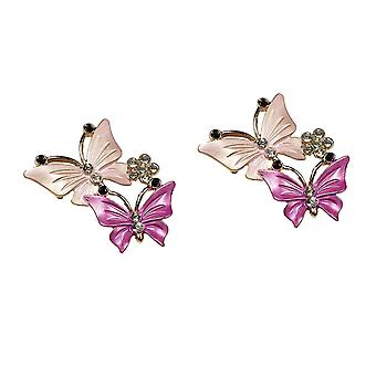 2 Pink Butterfly Flat Back Embellishments With 2 Butterflies and Rhinestone Crystal Flower
