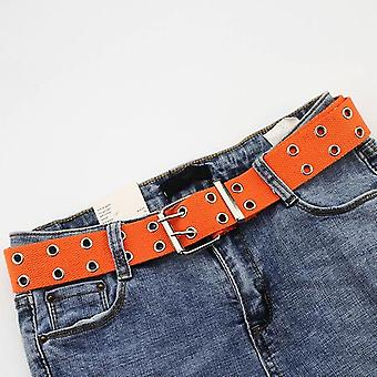 New Designer Harajuku Wide Belt Canvas Web Double Grommet Hole Buckle Belt