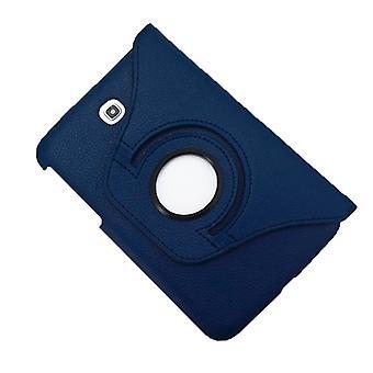 360 graden rotatie litchi textuur lederen behuizing met houder en  Creditcardsleuven voor Galaxy Tab 3 (7.0) / P3200(Donkerblauw)