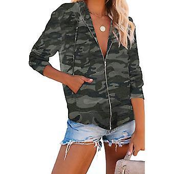 Camo Print Zip Up Hooded Jacket