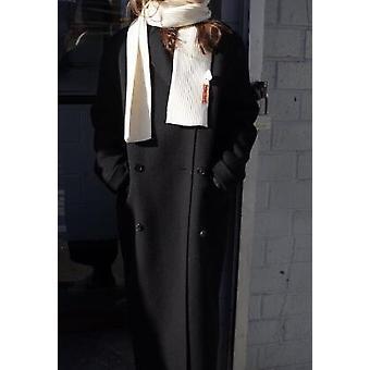 الخريف / الشتاء مزدوجة الصدر معطف الصوف الطويل طويل الأكمام قبعة طوق