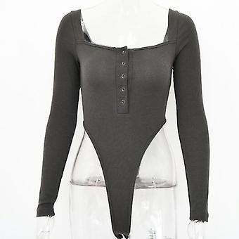 Articat Black Off Shoulder Sexy Bodysuit Women Long Sleeve Jumpsuit