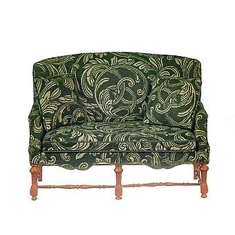 Poppenhuis Groen & Walnut Wood Setee Sofa Jbm Miniatuur Woonkamer Meubilair