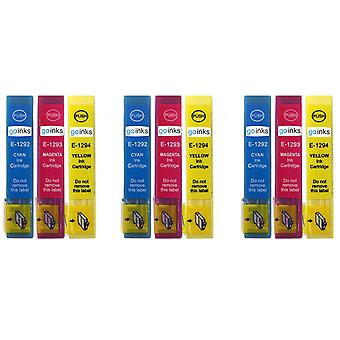 3 Set of 3 Ink Cartridges to replace Epson T1295 C/M/Y Compatible/non-OEM from Go Inks (9 Inks)