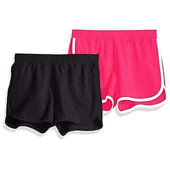 Essentials Big Girls' 2-Pack Active Running Short, Black/Raspberry, L