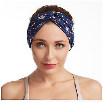 Criss Cross Headband Elastic Flower Turban Head Wrap Printed Wide Cotton