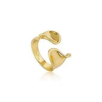 Ania haie Sterling sølv skinnende gullbelagt vri bred justerbar ring R012-03G