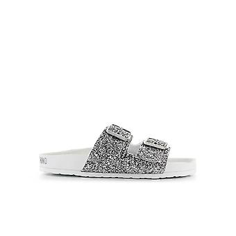 AMOUR MOSCHINO SILVER GLITTER SLIDE