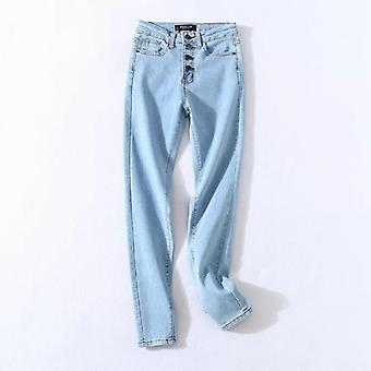 Stretch High Waist Jeans, Women Skinny Slim Washed Denim, Pencil Pants