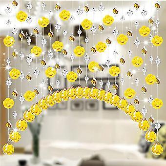 Glass Rose Bead Curtain Living Room Bedroom Window Door Wedding Decor Home