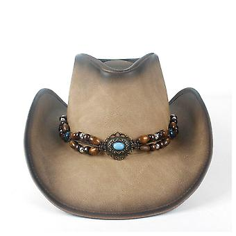 New Fashion Women Men Retro Vintage Turquoise Leather Strap Cowboy Caps (dark