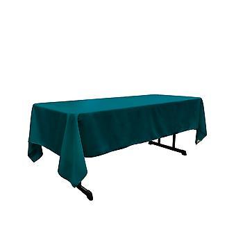 La Linen Polyester Poplin Rectangular Tablecloth 60 By 144-Inch, Dark Teal