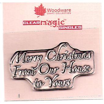 الأخشاب كلمات عيد ميلاد سعيد فقط من منزلنا لك 1.5 في × 3 في ختم