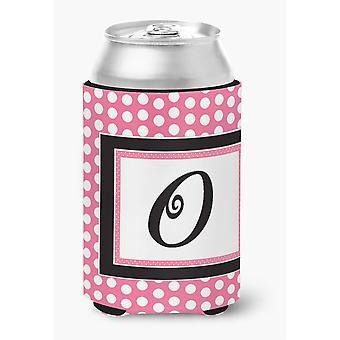Buchstabe O anfängliche Monogramm - rosa schwarz Polka Dots Dose oder Flasche Getränk Isolator Hugger