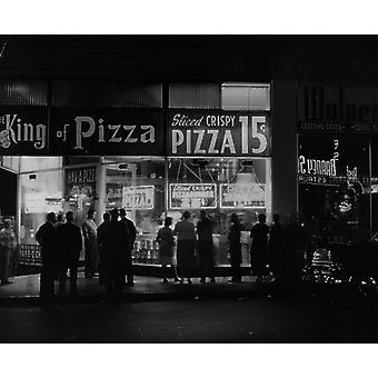 Król pizzy. Duże zdjęcie w ramce. około 1955 r.: Amerykański pizzeria na wynos. (Fot.