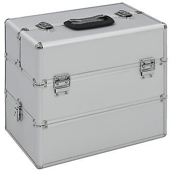vidaXL cosmetic case 37x24x35 cm silver aluminum