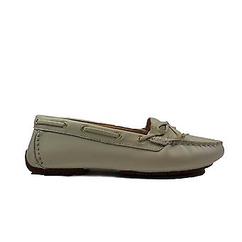 Clarks Mocc Boat 2 White Leather Womens Slip On Moccasin Shoes
