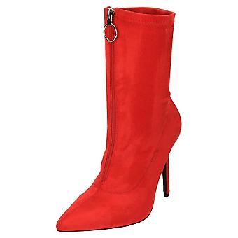 Koi Footwear High Heel Stiletto Mid Calf Boots Pointed Toe Red Suede