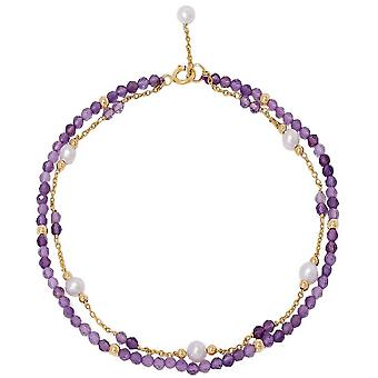 Pearls of the Orient Clara Amethyst Fine Double Chain Bracelet - Purple