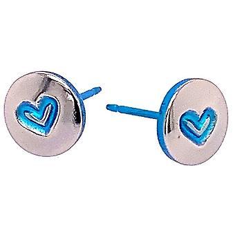 Ti2 Titan Heart Stud Örhängen - Ljusblå
