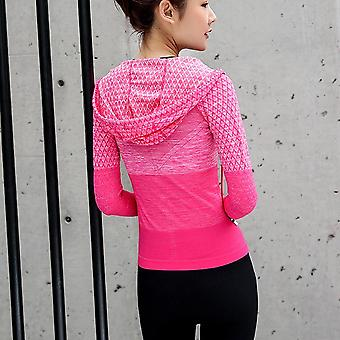 Zipper Fitness Clothing With Hat Yoga Shirt, Long Seamless Jacket