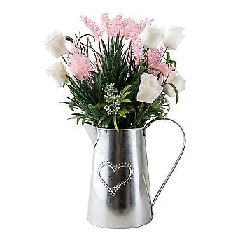 Metallkrug mit rosa Rosen und Lavendel 41cm