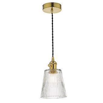 Dar HADANO Dome Pendant Light Natural Brass com sombra de vidro costelado, 1x E14