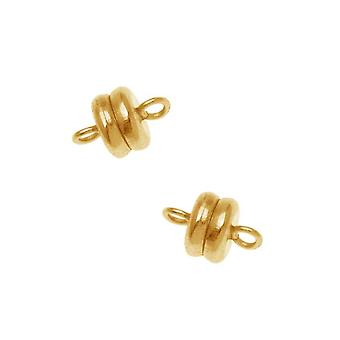 Magnetic Clasps, Round 6x4.5mm, 4 Sets, 22K Gold Plated