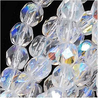 """חרוזי זכוכית צ'כית מלוטשת 5 מ""""מ עגול קריסטל AB (50)"""