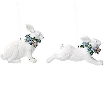 Gisela Graham 2 Hare Christmas Decorations