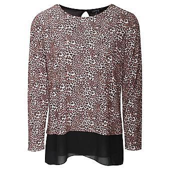 Latte leopardmönstrad långärmad tröja