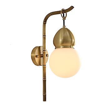 Gourd Kobber Væg Lampe, Kobber Lampe Body + Glas Lampeskærm, Stue Tea Room Zen Kunst Dekoration