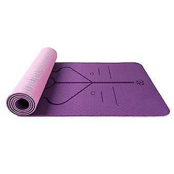 Homemiyn double couche tpe posture ligne doux épais tapis de yoga 183 * 61 * 0.6cm pl-610