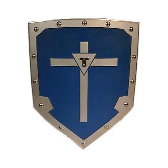 Hölzerne mittelalterliche Wikinger Kreuz Schild - blau SWE104